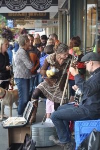 Street Performers outside 1912 Pike Place Starbucks