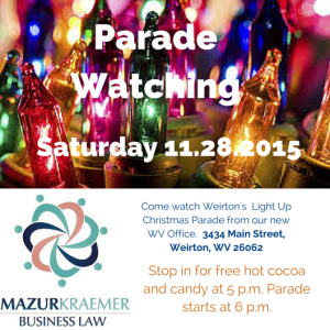 Come watch Weirton's Light Up Christmas Parade at our new WV Office. 3434 Main Street, Weirton, WV 26062
